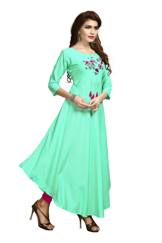 Mint Green Color Rayon Flexible Stitched Kurti - VAT346A