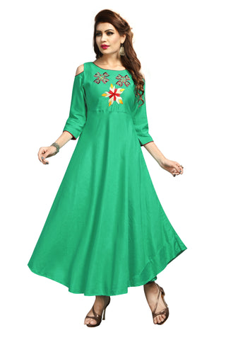 Green Color Rayon Flexible Stitched Kurti - VAT347A