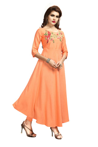 Peach Color Rayon Flexible Stitched Kurti - VAT349A