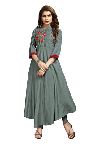 Grey Color Rayon Flexible Stitched Kurti - VAT350A
