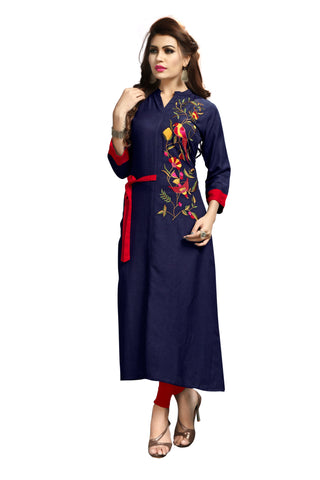 Navy Blue Color Rayon Flexible Stitched Kurti - VAT351A