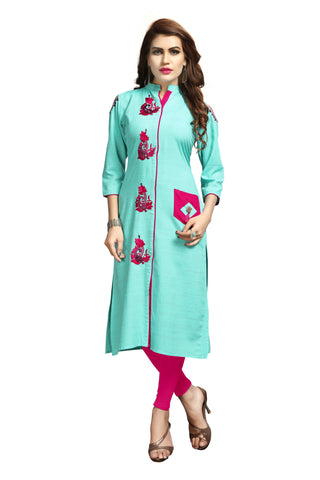 Sky Blue Color Rayon Flexible Stitched Kurti - VAT352A
