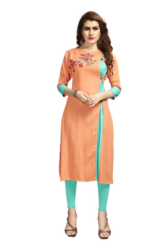 Orange Color Rayon Flexible Stitched Kurti - VAT353A