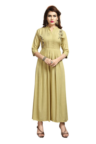 Cream Color Super Rayon Stitched Kurti - VAT355A