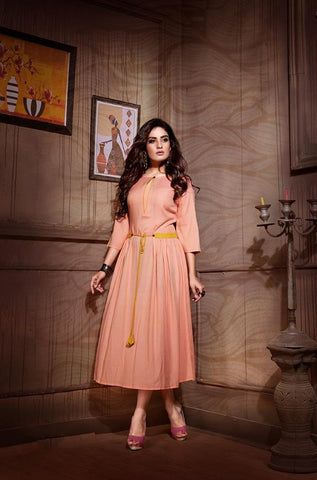 Peach Color Rayon And Two Tone Slub Stitched Kurti - VAT380A