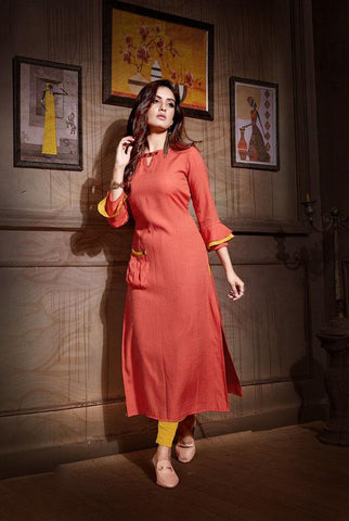 Dark Orange Color Rayon And Two Tone Slub Stitched Kurti - VAT381A