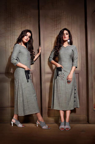 Grey Color Rayon And Two Tone Slub Stitched Kurti - VAT382A
