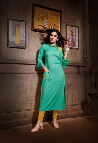 Sea Green Color Rayon And Two Tone Slub Stitched Kurti - VAT384A