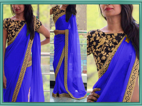 Blue Color Georgette Women's Saree - VA_BLUE