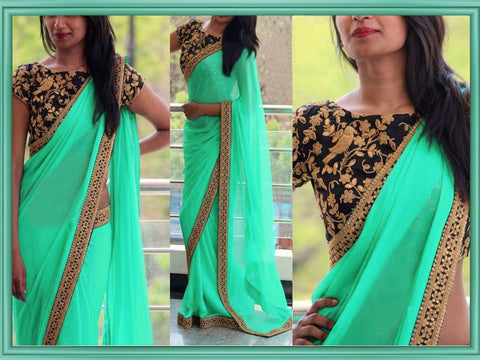 Green Color Georgette Women's Saree - VA_CGREEN