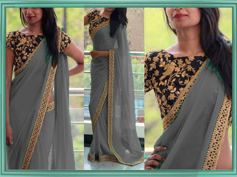 Grey Color Georgette Women's Saree - VA_GREY