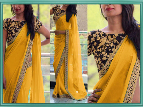 Yellow Color Georgette Women's Saree - VA_YELLOW