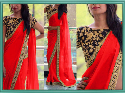 Red Color Georgette Women's Saree - VA_ RED
