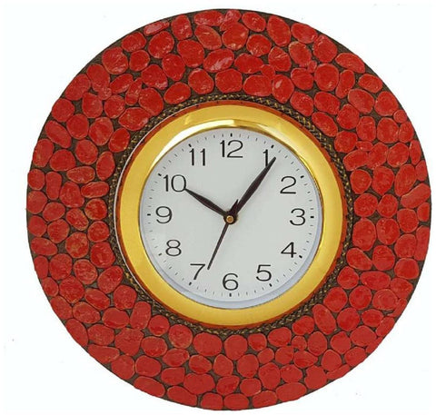 Red Color Wooden Analog Wall Clock - VB-Heritage-Wall-Clock-008