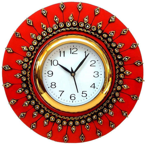 Orange Color Wooden Analog Wall Clock - VB-Heritage-Wall-Clock-012
