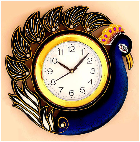 Blue Color Wooden Analog Wall Clock - VB-Heritage-Wall-Clock-013