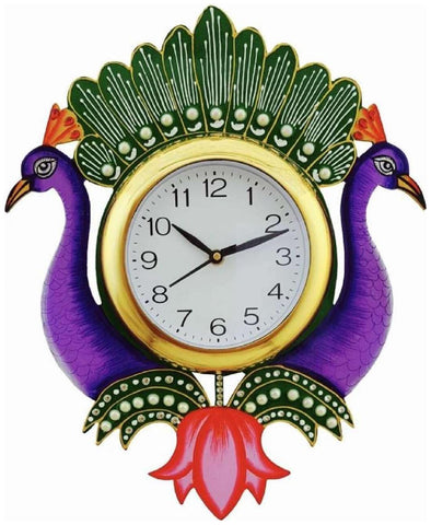 Purple Color Wooden Analog Wall Clock - VB-Heritage-Wall-Clock-108
