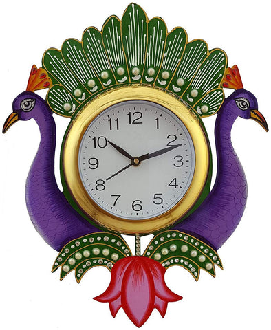 Purple Color Wooden Analog Wall Clock - VB-Heritage-Wall-Clock-109