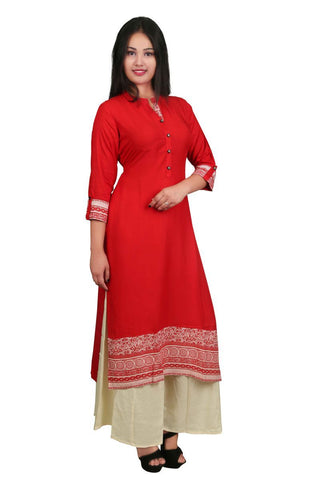 Red Color Rayon Stitched Kurti - VB-Style1-Red