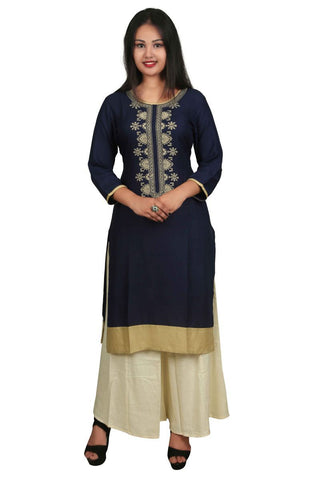 Blue Color Rayon Stitched Kurti - VB-Style12-Blue