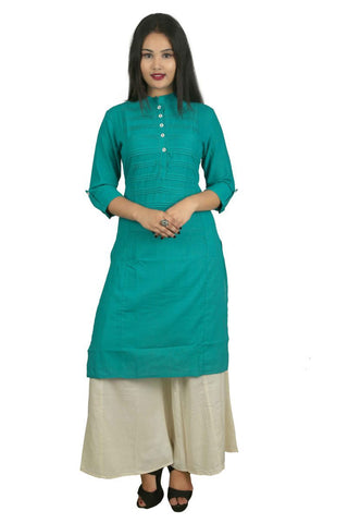Turquoise Color Cotton Stitched Kurti - VB-Style15-Tourquoise
