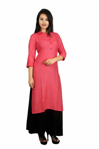 Peach Color Cotton Stitched Kurti - VB-Style2-Peach