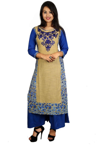 Blue Color Cotton Stitched Kurti - VB-Style8-Blue