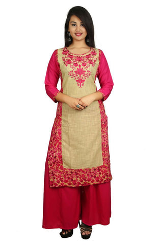 Pink Color Cotton Stitched Kurti - VB-Style8-Pink