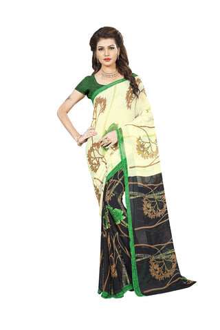 Cream Color Georgette Saree - VDBLJK2084