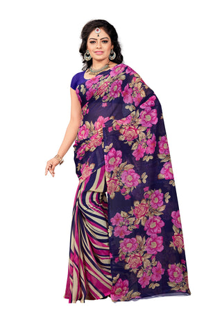 Navy Blue Color Georgette Saree - VDDHN332C