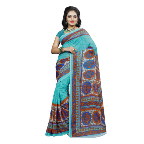 Turquoise Color Georgette Saree  - VDDHN337B