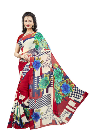 Multi Color Georgette Saree -VDJH2085