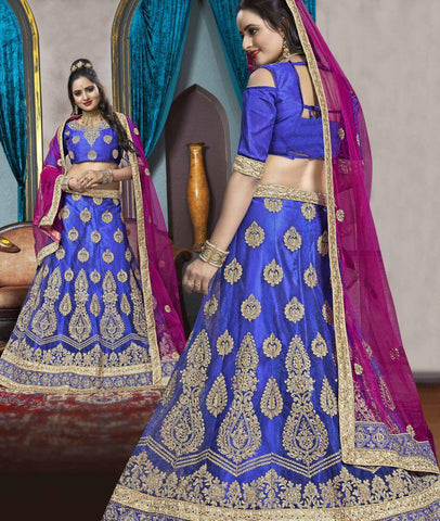 Blue Color Net Semi Stitched Lehenga - VDK21001