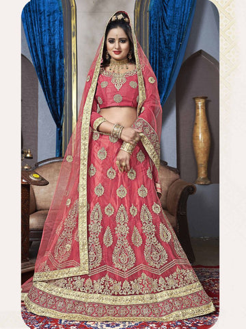 Peach Color Net Semi Stitched Lehenga - VDK21002