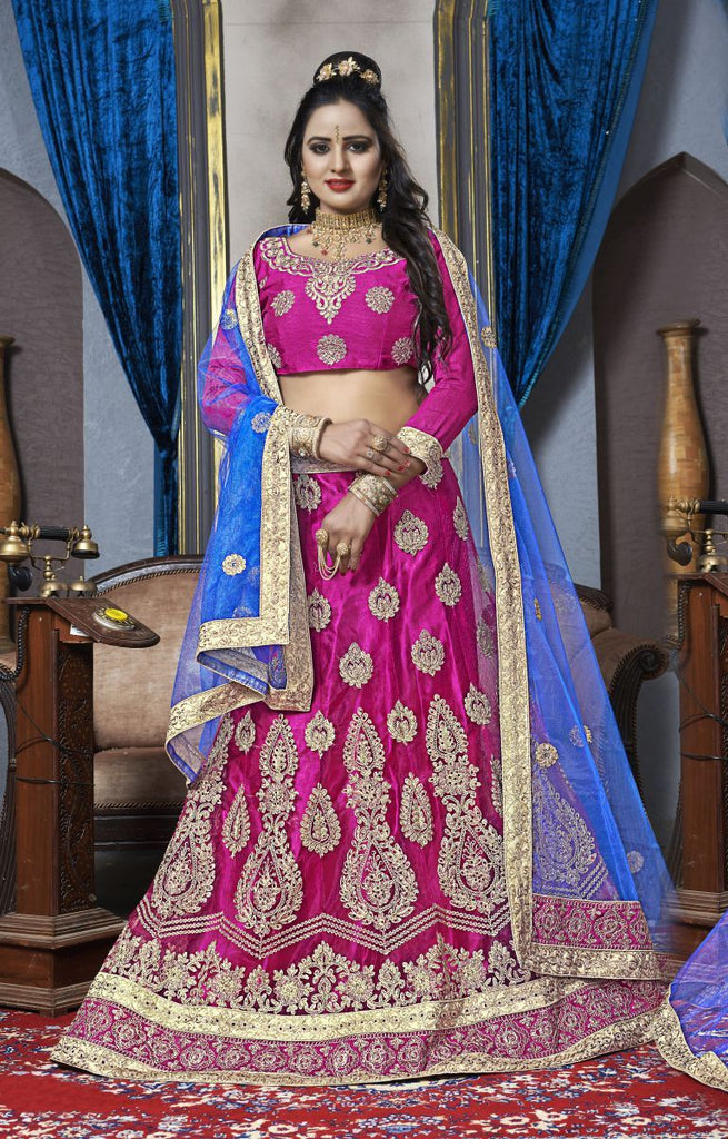 Buy Pink Color Net Semi Stitched Lehenga