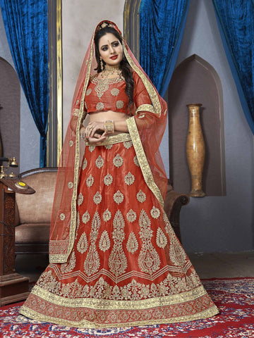 Red Color Net Semi Stitched Lehenga - VDK21004