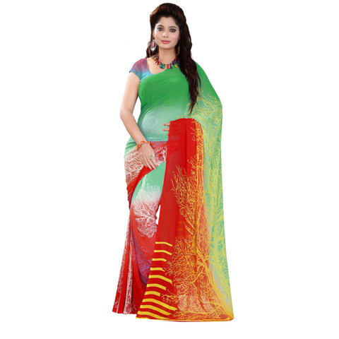 Green Color Georgette Saree - VDKML2190