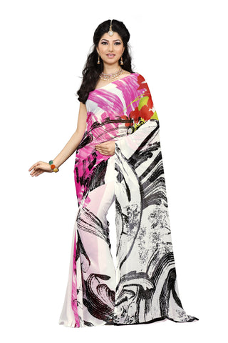 White Color Georgette Saree - VDKML2226B
