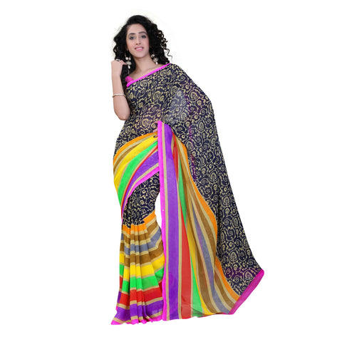 Multi Color Georgette Saree - VDKRSM2198A