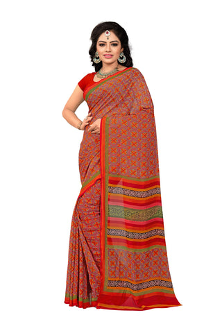 Red Color Georgette Saree - VDKRSM2217B