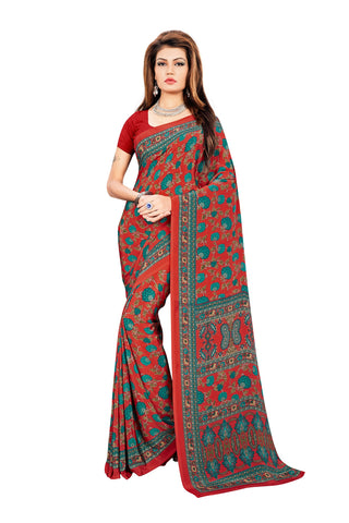 Rama Color Crepe Saree - VDSUNY315