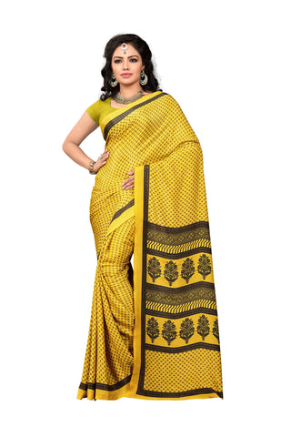 Yellow Color Crepe Saree - VDSUNY328