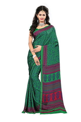 Green Color Crepe Saree - VDSUNY502B