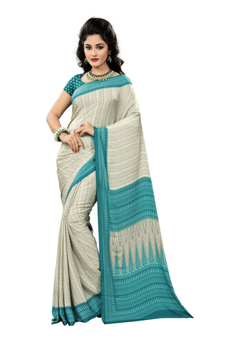 Cream Color Crepe Saree - VDSUNY719B