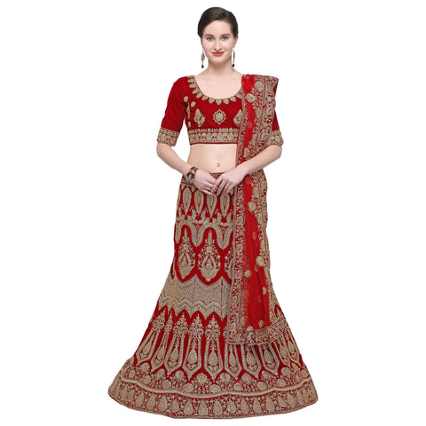 Maroon Color Velvet Semi Stitched Lehenga - VELVET-WEDDING-33001