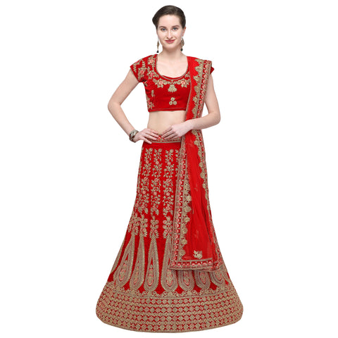 Red Color Velvet Semi Stitched Lehenga - VELVET-WEDDING-33002
