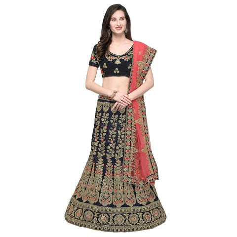 Blue Color Velvet Semi Stitched Lehenga - VELVET-WEDDING-33004