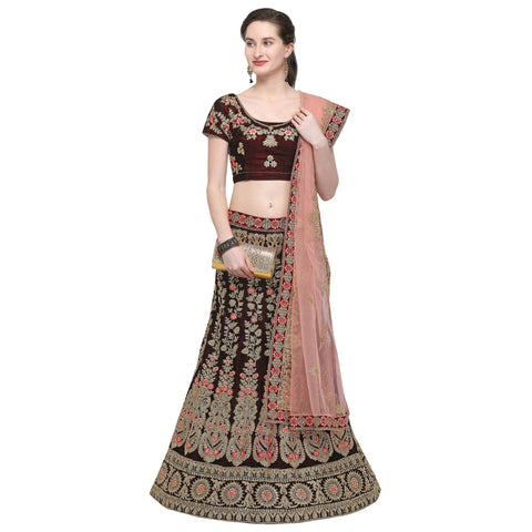 Maroon Color Velvet Semi Stitched Lehenga - VELVET-WEDDING-33005