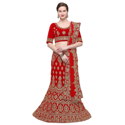 Red Color Velvet Semi Stitched Lehenga - VELVET-WEDDING-33006