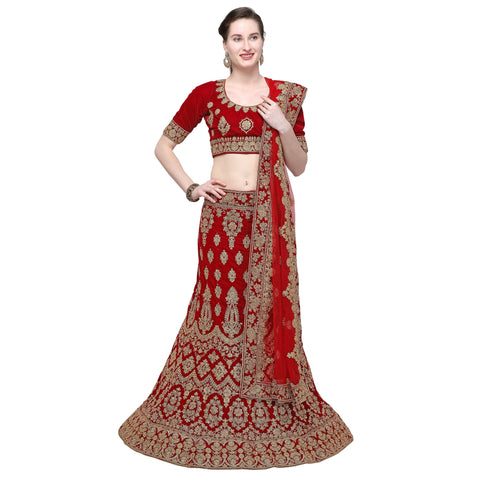 Maroon Color Velvet Semi Stitched Lehenga - VELVET-WEDDING-33007